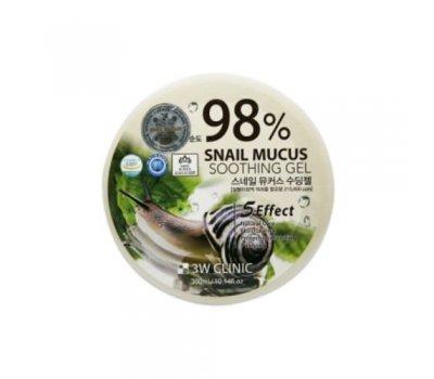 Универсальный гель с экстрактом улитки Snail Mucus Soothing Gel 98% 3W CLINIC, 300 гр