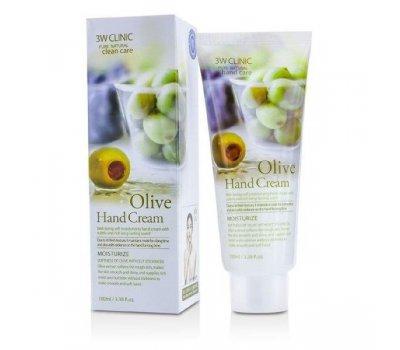 Увлажняющий крем для рук с экстрактом оливы Olive Hand Cream 3W CLINIC, 100 мл