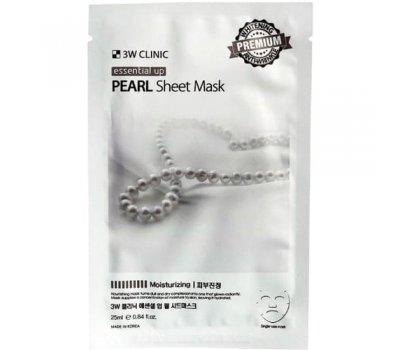 3W CLINIC Essential Up Pearl Sheet Mask Тканевая маска для лица с жемчугом, 25 мл