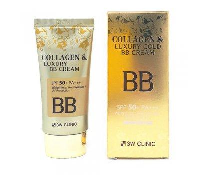 Тональный BB крем для лица с коллагеном и золотом BB Collagen Luxury Gold Cream 3W CLINIC, 100 мл