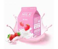 Тканевая маска молочная, ягодная Strawberry Milk One-Pack A'PIEU