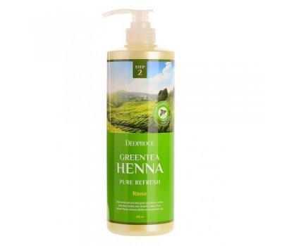 Deoproce Rinse Green Tea Henna Pure Refresh Увлажняющий кондиционер для волос с хной и зеленым чаем, 1000 мл