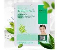 Тканевая маска для лица DERMAL Green Tea Collagen Essence Mask, 23 гр