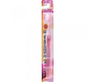EBISU Суперкомпактная 4-х рядная зубная щетка с плоским срезом сверхтонких щетинок и прозрачной ручкой (Средней жёсткости), 1 шт
