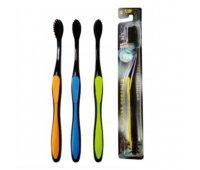 """EQ Компактная зубная щетка """"MashiMaro"""" со сверхтонкими щетинками и анатомической ручкой (с древесным углем, средней жесткости), 1 шт"""