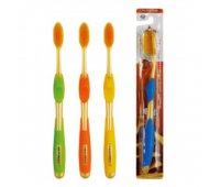 """EQ Зубная щетка """"NANO"""" со сверхтонкими щетинками двойной высоты и инновационной ручкой (с ионами золота, средней жесткости), 1 шт"""