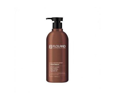 Восстанавливающий маска-бальзам для волос с кератином Floland Premium Silk Keratin Treatment, 530 мл