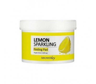 Secret Key Lemon Sparkling Peeling Pad Очищающие пилинг-салфетки с экстрактом лимона, 130 мл