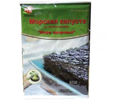 Корейская хрустящая сушеная морская капуста со вкусом васаби Ajikura